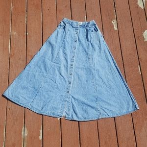 Vintage American Eagle jean skirt 8 80s 90s maxi